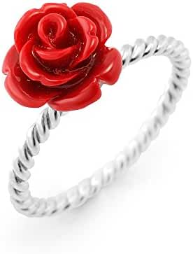 925 Sterling Silver Resin Red Rose Flower Vintage Ball Beaded Ring